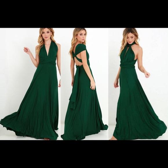 ba18e9b4db9 Dresses   Skirts - Dark emerald green infinity convertible maxi dress